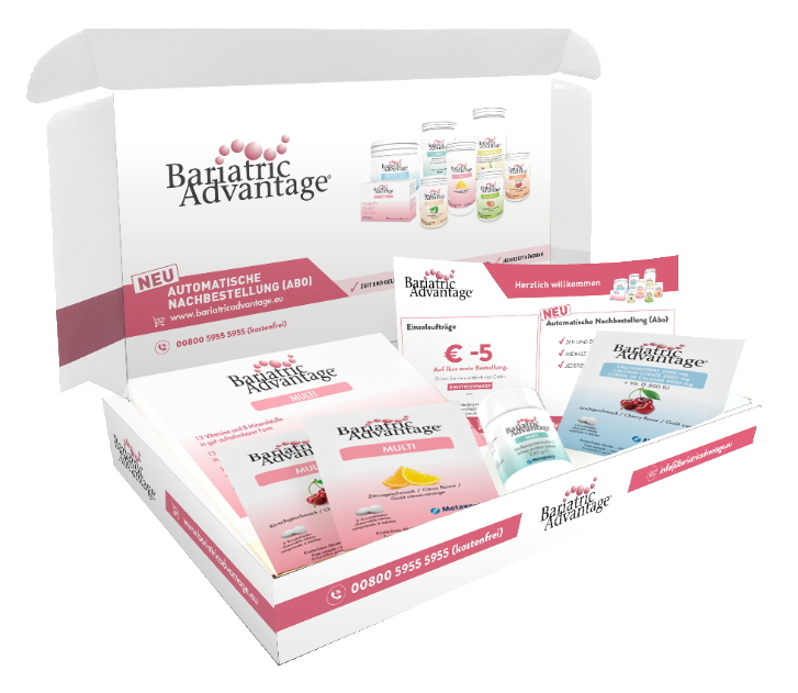 Starterkit Bariatric Advantage. Open box with Bariatric Advantage Multi, Calcium, Whey